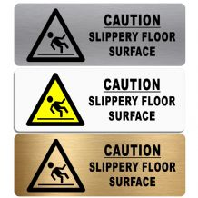 Caution Slippery Floor Surface-WITH IMAGE-Aluminium Metal Sign-Door,Notice,Office,Business,Safety